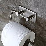 Labkiss LK017- Portarrollos de papel higiénico para montar en la pared - Estilo moderno - Autoadhesivo (sin taladros) - Reutilizable, duradero, resistente al agua - Acero inoxidable cepillado