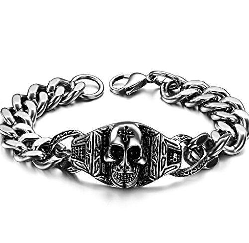 Gudeke Mode Simple Femmes Hommes Personnalité Crâne de Head Retro Bracelet Cuff