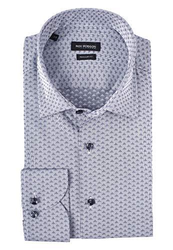 Roy Robson Herren Hemd aus Baumwolle mit Jacquard Muster Langarm - Regular Fit (Dunkelblau, 43)