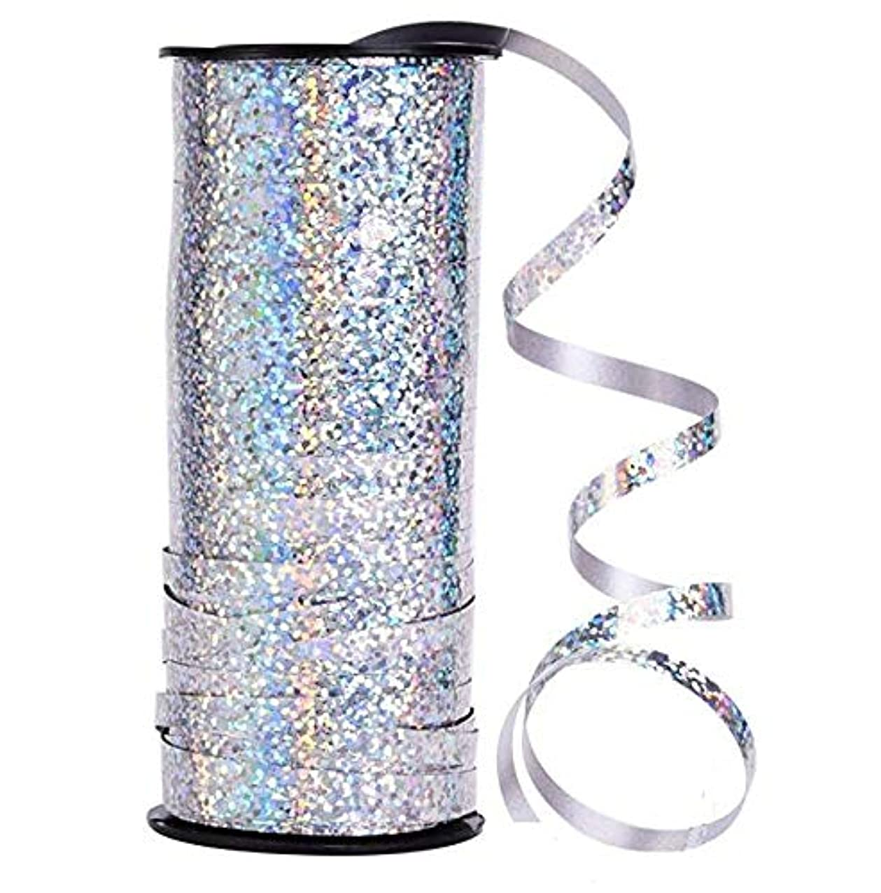 DNHCLL 5 mm Width Crimped Curling Ribbon Roll,100 Yard Metallic Silver Balloon Ribbons Strings for Parties, Festival, Florist, Crafts and Gift Wrapping