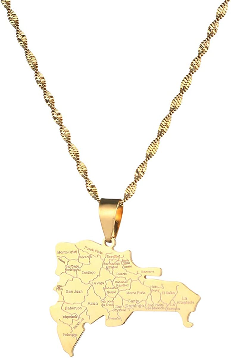 Stainless Steel Dominican Map Pendant Necklaces Fashion Dominicans Country Map Chain Jewelry