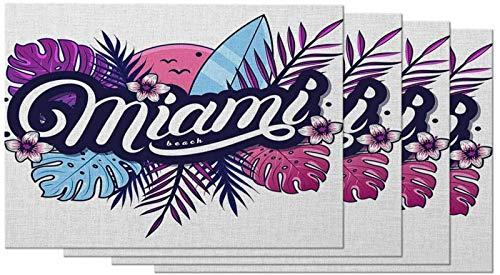 aipipl Miami - Juego de 4 manteles Individuales de Playa con Hojas de Palmera, follaje Tropical Floral, Plantas, Flores, Tabla de Surf, manteles Individuales de Naturaleza para Mesa de Comedor, Lin