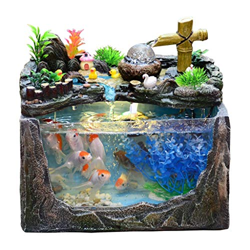 Fuentes de Interior Buena suerte decorativo de resina de Stone Mountain fuente de mesa, decoración de interiores Pequeño Fuente Cascada y Glass Fish Bowl mesa acuario, perfecto regalo la decoración de