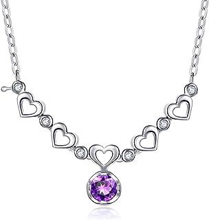 Necklace Natural Amethyst Fan Pendant Love Heart Pendant Silver Necklace Women's Clavicle Chain Women's Pendants
