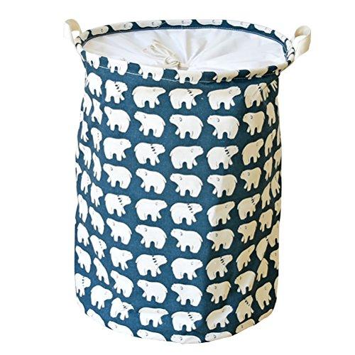 VORCOOL Korb, Wäschekorb faltbar Wasserdicht Baumwolle und Leinen für Haus (Eisbär)