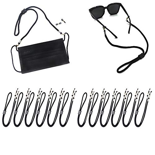 Face Mask strap Bandanas chain Eyeglass Lanyards Dual function for Face Shield and Glasses Strap Holder Eyewear Retainer Necklace glasses hanging for Women and Men (12 pcs, Black)