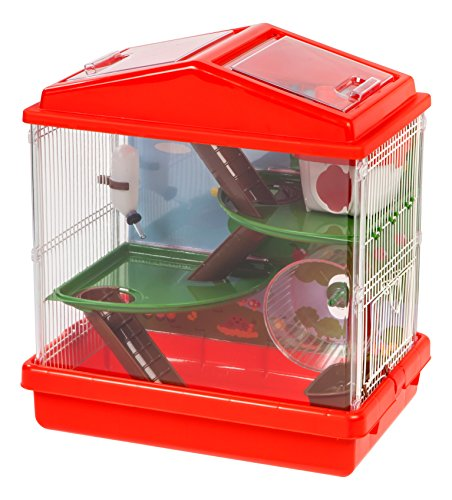 IRIS USA Hamster and Gerbil Pet Cage, 3-Tier, Red