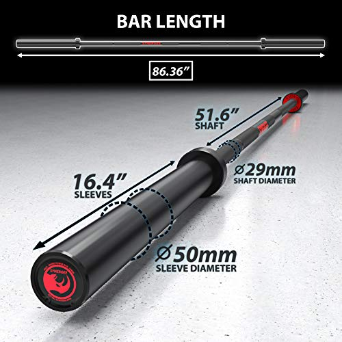 Synergee 45lb Rhino Power Bar Cerakote Finish Barbell. Rated 1500lbs for Powerlifting - Deadlift - Squat - Bench Bar