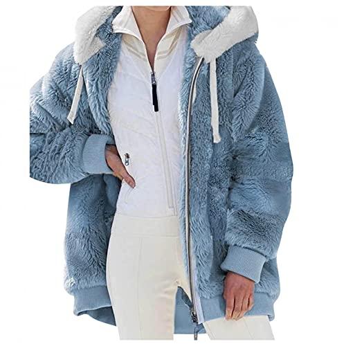 HHWY Chaqueta con capucha para mujer de gran tamaño, vintage, para exteriores, con forro polar, cálido, para el tiempo libre, con capucha, forro polar, con cremallera, parka para mujer, azul, XXL