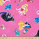 1/2 Yard - Sleeping Beauty Character Toss on Pink Cotton Fabric - Officially Licensed (Great for Quilting, Sewing, Craft Projects, Throw Pillows & More) 1/2 Yard x 44'