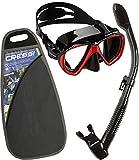Cressi Ranger & Dry Kit máscara Tubo, Unisex Adulto, Negro/Rojo, Talla Única