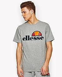 Ellesse S/S Prado T-Shirt Grey Marl Logo printed on Chest 100% Cotton Machine Washable