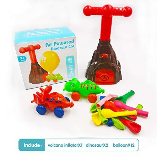 Time-killer Dinosaur Air Balloon Powered Cars Toys, STEM Preschool Educational Science Aerodynamic Racers, Christmas Party Favors Gift with Manual Balloon Pump for Kids Boys Girls Age 3+ (Dinosaur)