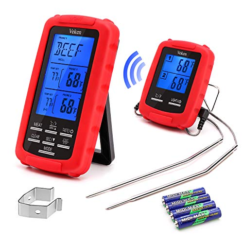 Veken Wireless Digital BBQ Meat Thermometer Remote Cooking Food Grill Thermometer with Dual Probes for Grilling Oven Smoker...