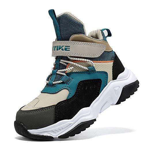 Kinder Wanderschuhe Jungen Wanderstiefel Mädchen Outdoor Trekking Schuhe rutschfeste Mid Trekkingstiefel für Unisex Herren Damen Blau gr 39