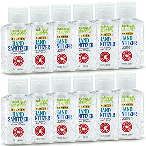 Hand Sanitizer Gel (12 Pack - 2oz Bottle) Unscented, 75% Alcohol Meets New W.H.O./CDC Standards