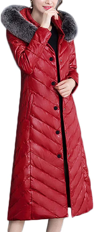 Michealboy Women Leather Long Down Jacket Windproof Warm Puffer Coats Outwear