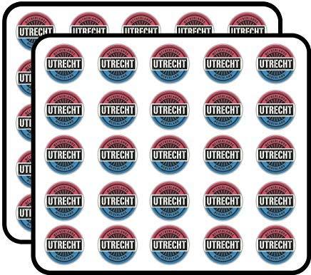 Utrecht Nederland Wereld Vlaggenstempel Vinyl Stickers Grappig Leuke voor Kids DIY Crafts, Scrapbooking, Laptop, Bumper Auto Stickers, Stickers voor Kinderen, 50 Pack