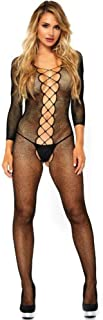 Leg Avenue Women's Seamless Net Faux Lace up Long Sleeve Bodystocking, Black, O/S