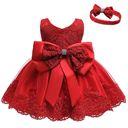 Baby Girl Sleeveless Lace 3D Flower Tutu Holiday Princess Dresses Red