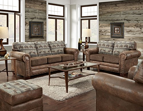 American Furniture Classics 4 Piece Set Including Sofa, Chair, Loveseat and Ottoman, Deer Teal Tapestry
