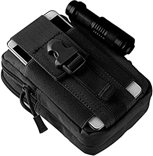Tactical Molle Pouch Bag - EDC Utility Gadget Waist Bag Pack- Camping Hiking Outdoor Gear - Cell Phone Holster Holder - Black