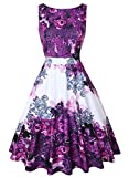 OWIN Women's Floral 1950s Vintage Swing Cocktail Party Dress Sleeveless