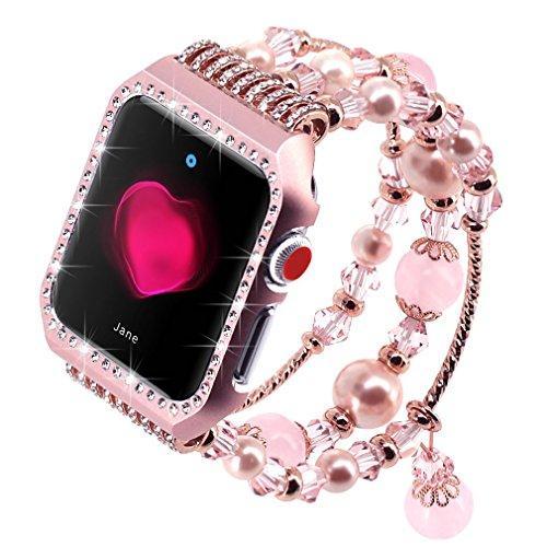 Falandi Apple Watch Band 38mm, Glittering Diamond Metal Rose Gold Case with Handmade Elastic Stretch Bracelet Fashion Women Girls Rhinestone Replacement Strap for iWatch Series 3/2 / 1(M, Pink-38mm)