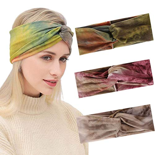 Favelo - Diademas elásticas para la cabeza con nudos para mujeres y niñas (3 unidades)