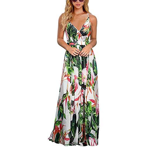 ENTER&RELIEVE Floral cuello en V Maxi vestidos de verano vestido de las mujeres tiras cruz espalda espagueti correa sin mangas sin espalda largo vestido fluido Split Boho Bohemian, vestido