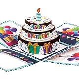 Giiffu DIY 3 Layer 3D Birthday Explosion box for birthday card with cake card, Pop Up Birthday Card Happy Birthday Card Best Birthday Greeting Cards