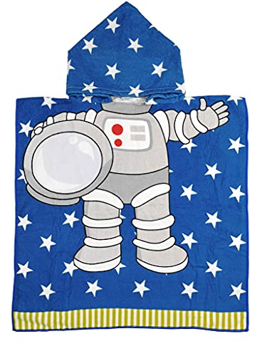 Athaelay Toalla de Playa con Capucha de Microfibra Ligera para niños, niños pequeños, baño / Piscina / Poncho de natación, encubrimientos, Traje de baño (Astronauta)
