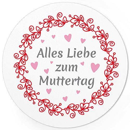 24 moderne Design Etiketten, rund/Alles Liebe Vintage/Muttertag/Liebe/Herzen/Mama Geschenk/Geschenk-Aufkleber/Sticker/für Firmen
