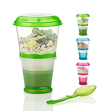 Cereal On the Go Cups Breakfast Drink Cups Portable Yogurt and Cereal To-Go Container Cup (Green)