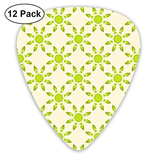 Gitaar Pick Marokkaanse Groen Acht bloemblaadjes 12 Stuk Gitaar Paddle Set Gemaakt Van Milieubescherming ABS Materiaal, Geschikt voor Gitaren, Quads, Etc