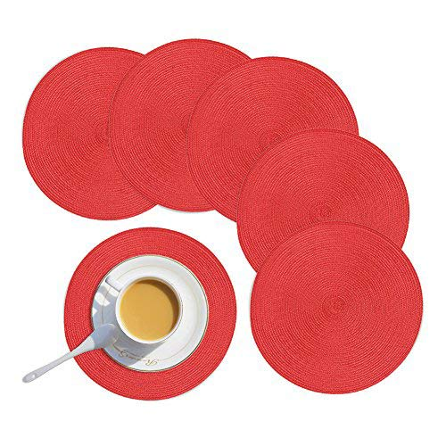"""Homcomoda Round Placemats,Red Christmas Round Placemats for Dining Table Set of 6-15""""(Red)"""