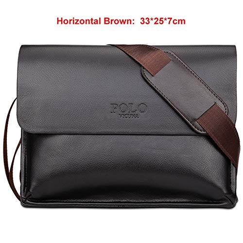Mdsfe Berühmte Marke Leder Herrentasche Casual Business Ledertasche Set Mann Umhängetasche Vintage Umhängetasche bolsas Male - Horizontal Brown, a3
