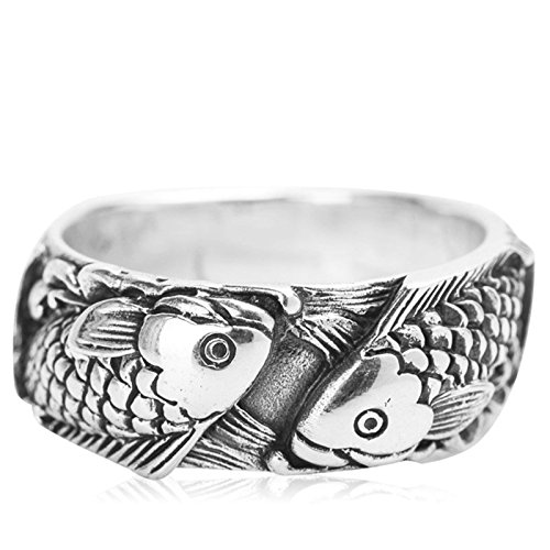 Amody 925 Sterling Ring for Men and Women Pisces Retro Wide Ring Size T 1/2