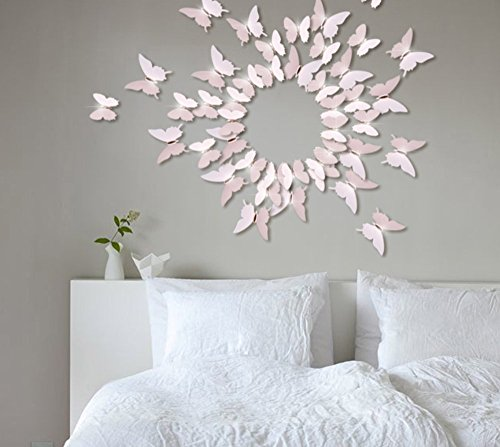 EXTSUD 12 Pcs 3D Butterflies Wall Stickers, Wall Stickers Three-dimensional Effect, 3D Butterflies with Shining Diamonds, DIY Wall Stickers Home Decoration (Pink)