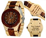 Wooden wristwatches for men-Wood wrist watch for women- watch with date-Wood engraving art -Handmade Custom engraving watches-Customization - Personal Message Laser Engraving - Gamma II Maple&Rosewood