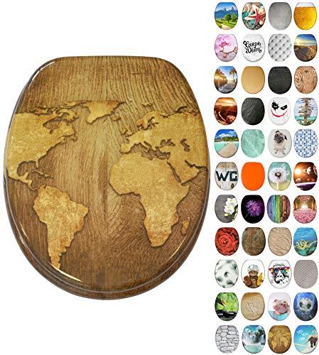 Sanilo toiletbril met soft closing-mechanisme I Hoogwaardige houten toiletzitting I Toiletdeksel in verschillende motieven (World Map)