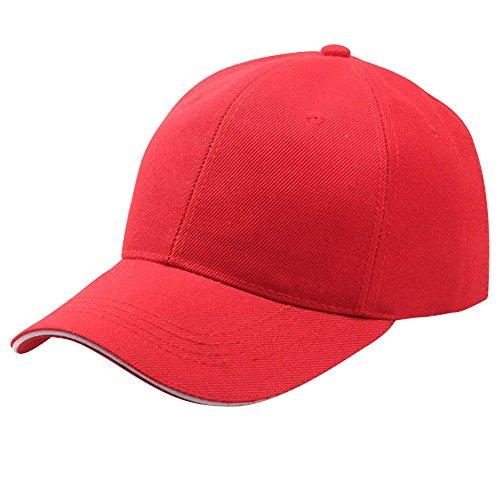 ESAILQ New Era Gorras Planas de Unisexo Verano Beisbol Deportivas para Mujer Hombres (rojo)