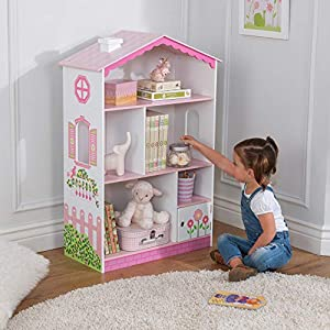 """KidKraft Dollhouse Cottage Bookcase Wooden Children's Furniture with Shelves and Hidden Storage, 15.15"""" x 11.42"""" x 25.98"""", Multicolor, Model:14604"""