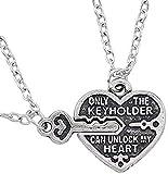 Collar de pareja de moda Vintage colgante de corazones clave tallado solo llavero puede desbloquear mi corazón collares para mujeres hombres Colar