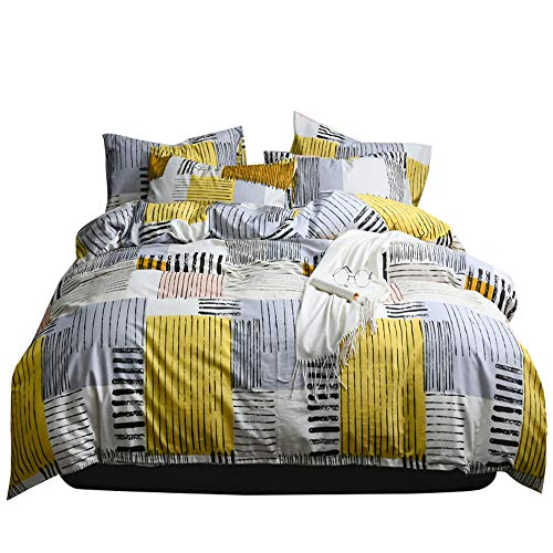 HIGHBUY Soft Geometric Queen Duvet Cover Set 3 Piece 100% Natural Cotton Striped Bedding Set Full Grey Comforter Cover for Boys Men Lightweight Breathable and Comfortable (No Comforter)
