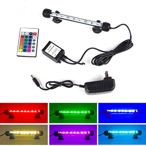 S SMIFUL LED Aquarium Light, Fish Tank Light Waterproof RGB Color Changing Remote Control Underwater Submersible LED Lights Strip Background Decorate Glofish Betta Plant Lighting, 7.5'