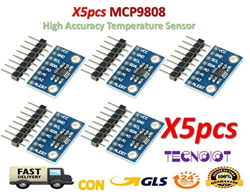 TECNOIOT 5pcs MCP9808 High Accuracy Temperature Sensor I2C Breakout Board CJMCU-9808