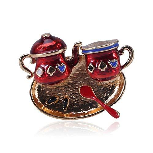 GLKHM Broche De Navidad Accesorios De Moda del Pin De Las Broches De La Tetera Y De La Taza del Esmalte del Color Rojo