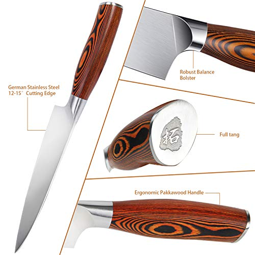 """TUO Chef Knife- Kitchen Chef's Knife - High Carbon German Stainless Steel Cutlery - Rust Resistant - Pakkawood Handle - Luxurious Gift Box Included - 7"""" - Fiery Phoenix Series"""
