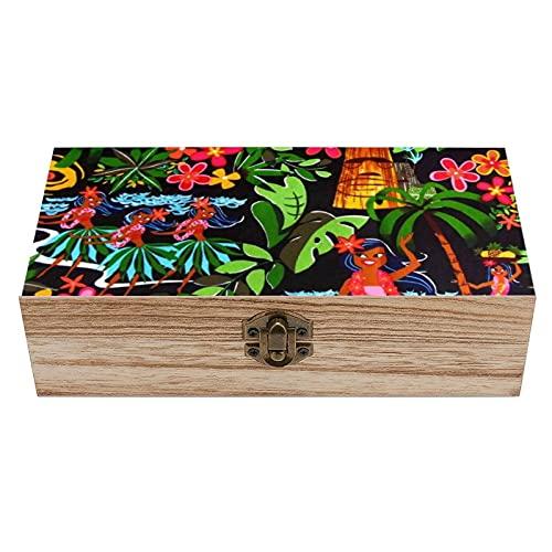 Caja decorativa de madera con diseño floral de hula hawaiana para niñas, caja de regalo, caja de té de almacenamiento de 7.9 x 3.7 x 2.3 pulgadas